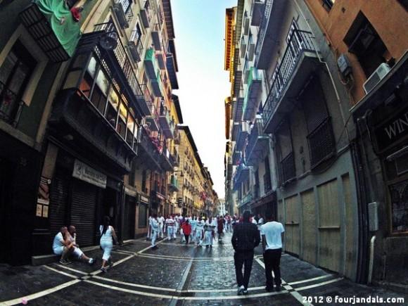 Narrow streets in Pamplona for Festival de San Fermin, Festival of San Fermin, Running with the Bulls
