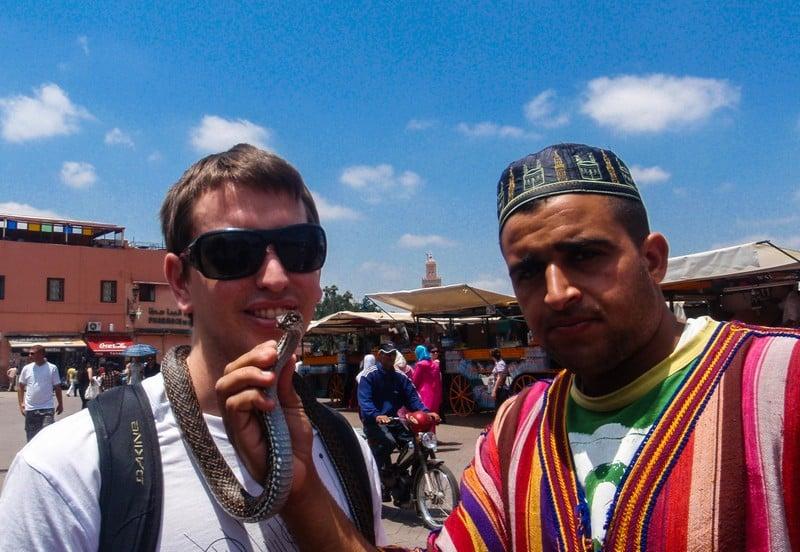 Marrakech Snake Charmer, Morocco, Cole, Couples Travel Tips