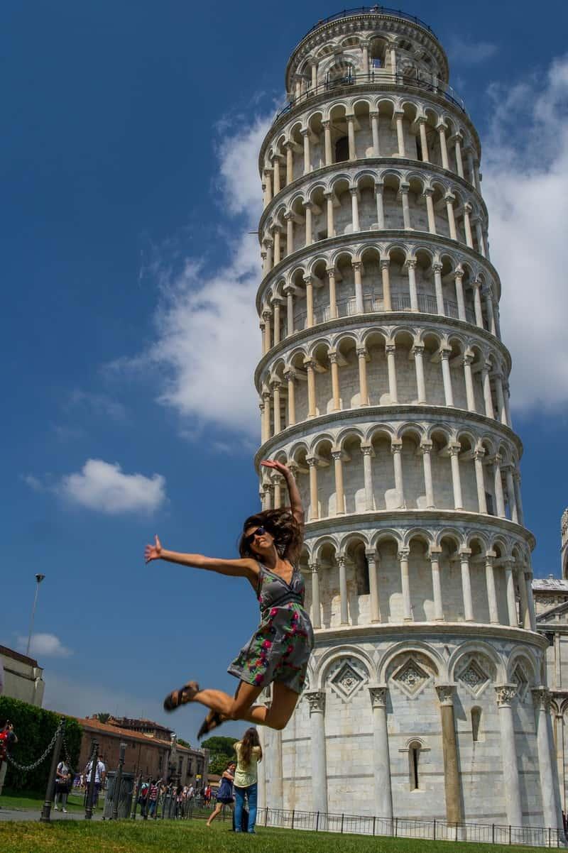 Adela funny jumping Pisa