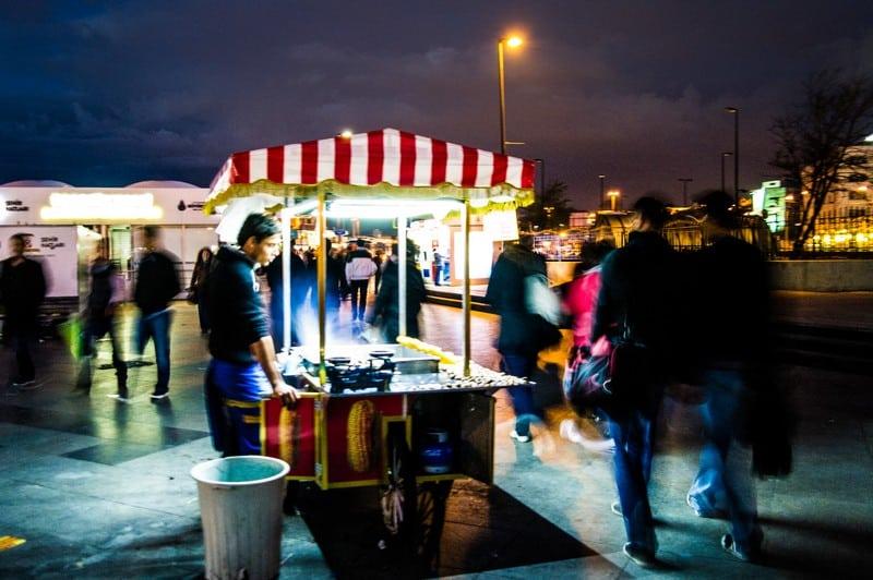 Istanbul Street Food Cart at Night