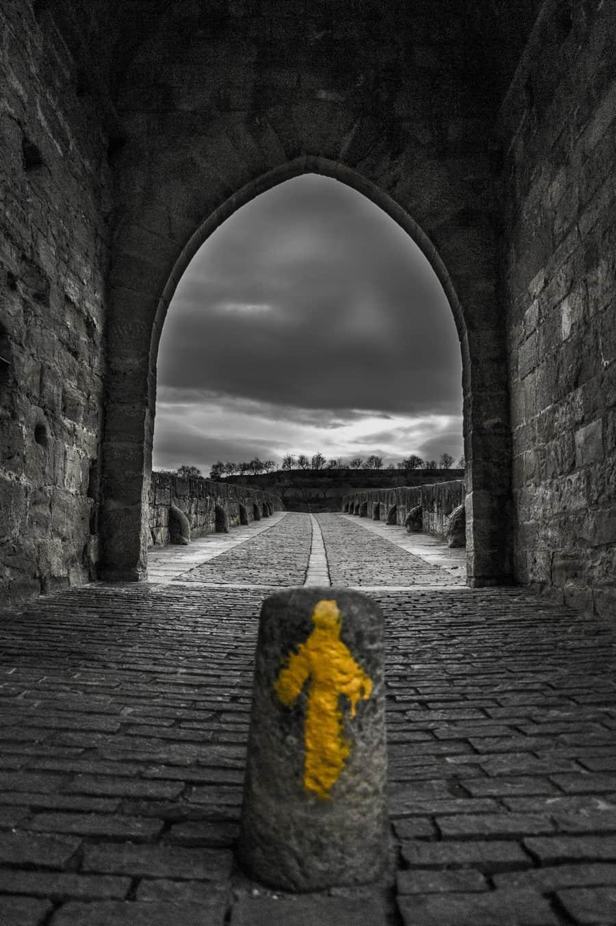 Puenta La Reina Bridge Camino Arrow