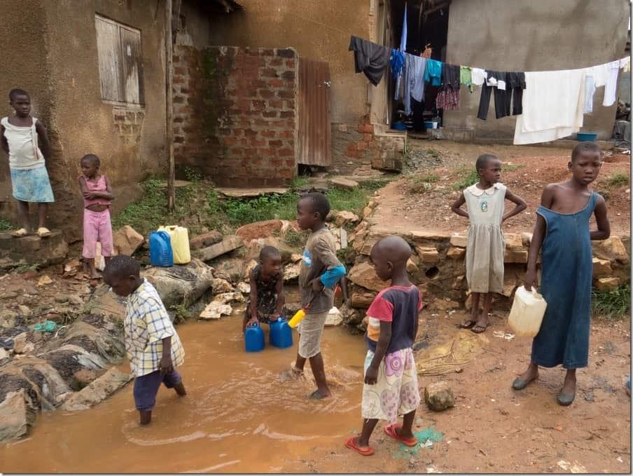 Drinking water in Bwaise Slum
