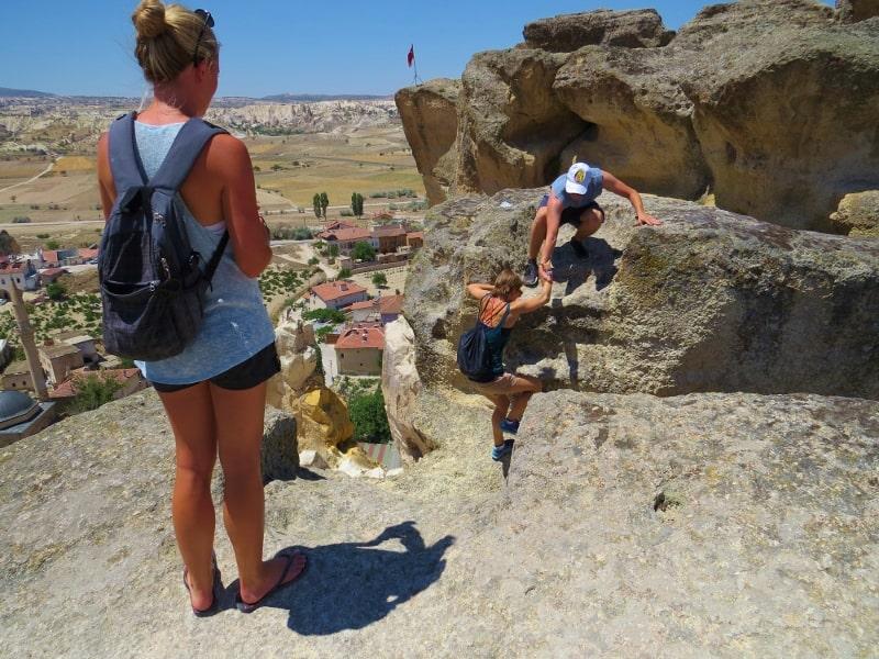 Climbing Cavusin Castle Cappadocia