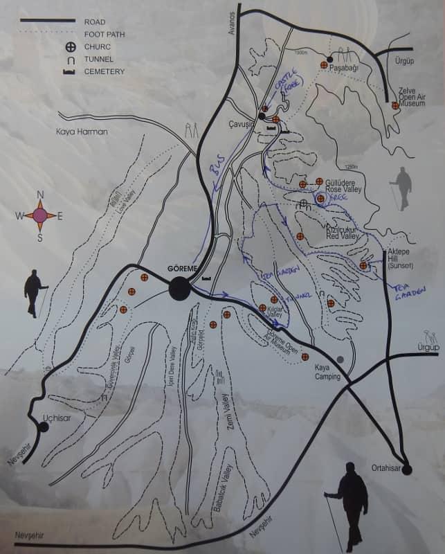 Simple map of Cappadocia