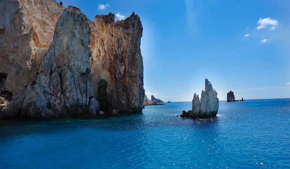 Greek Island, Rocks, Sea, Blue Sky, Poliegos